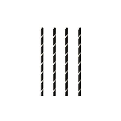 Shake straws paper pure 8 mm 20 cm black white