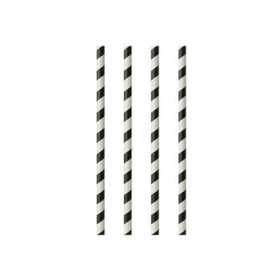Drinking straws made of paper 6 mm 20 cm black